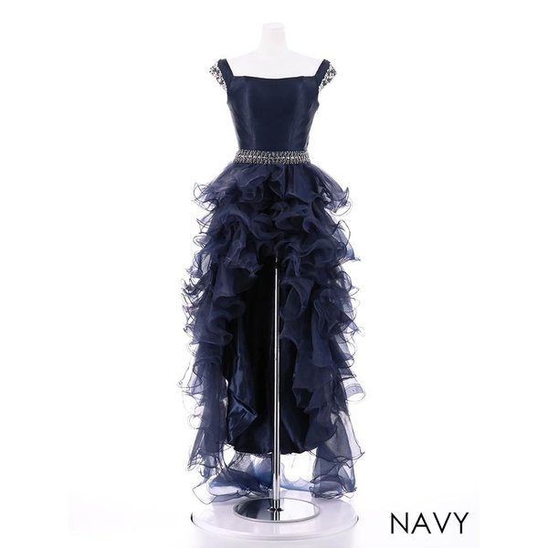 AngelR キャバ ドレス キャバドレス ナイトドレス ボリュームフリルオフショルダー前ミニロングドレス ドレス 二次会 花嫁 誕生日 バース|dazzy|15