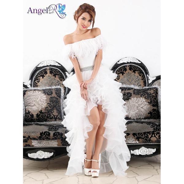 AngelR キャバ ドレス キャバドレス ナイトドレス ボリュームフリルオフショルダー前ミニロングドレス ドレス 二次会 花嫁 誕生日 バース|dazzy|04