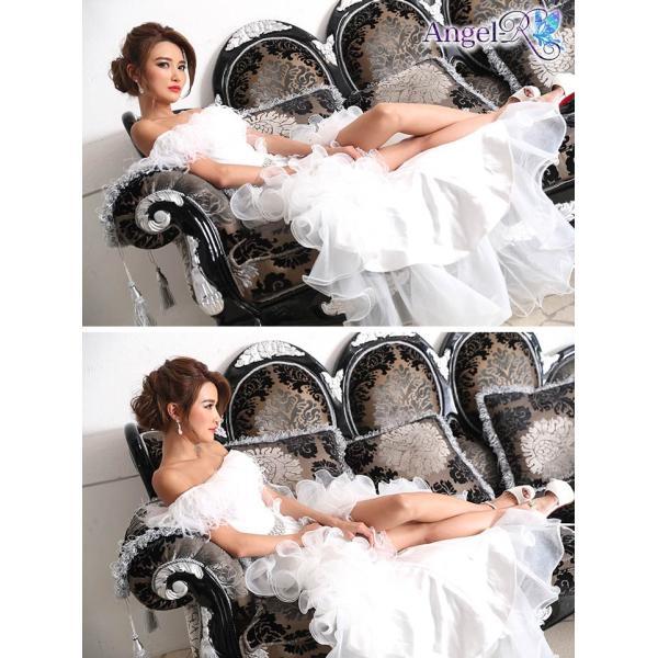 AngelR キャバ ドレス キャバドレス ナイトドレス ボリュームフリルオフショルダー前ミニロングドレス ドレス 二次会 花嫁 誕生日 バース|dazzy|05