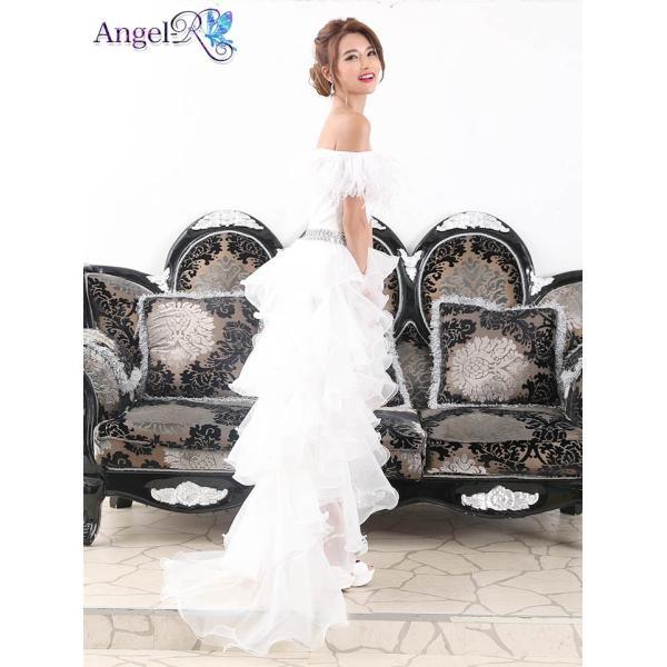 AngelR キャバ ドレス キャバドレス ナイトドレス ボリュームフリルオフショルダー前ミニロングドレス ドレス 二次会 花嫁 誕生日 バース|dazzy|07