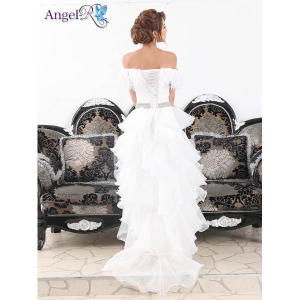 AngelR キャバ ドレス キャバドレス ナイトドレス ボリュームフリルオフショルダー前ミニロングドレス ドレス 二次会 花嫁 誕生日 バース|dazzy|09