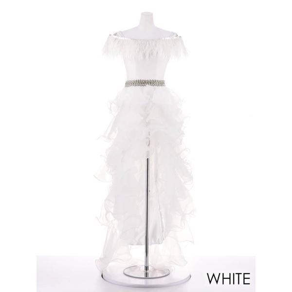 AngelR キャバ ドレス キャバドレス ナイトドレス ボリュームフリルオフショルダー前ミニロングドレス ドレス 二次会 花嫁 誕生日 バース|dazzy|10