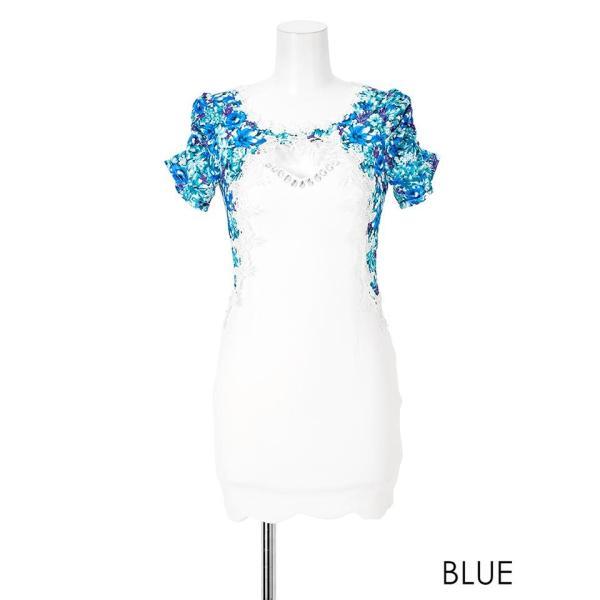 キャバ ドレス キャバドレス ワンピース 大きいサイズ S M L 花柄 刺繍 ピュアホワイト レイヤード風 タイト ミニドレス 超ミニ dazz|dazzy|11