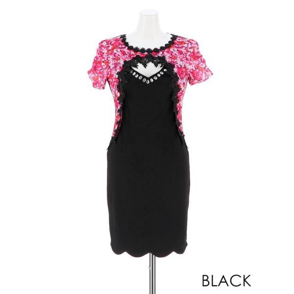 キャバ ドレス キャバドレス ワンピース 大きいサイズ S M L 花柄 刺繍 ピュアホワイト レイヤード風 タイト ミニドレス 超ミニ dazz|dazzy|12