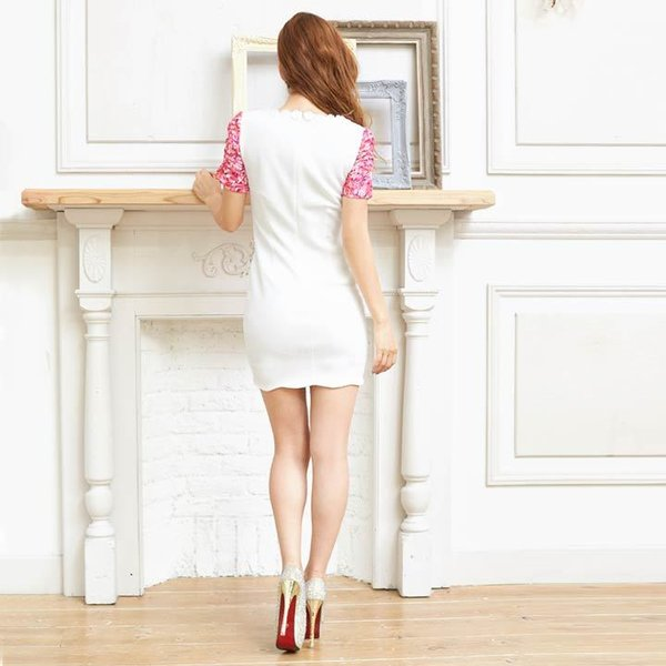 キャバ ドレス キャバドレス ワンピース 大きいサイズ S M L 花柄 刺繍 ピュアホワイト レイヤード風 タイト ミニドレス 超ミニ dazz|dazzy|08