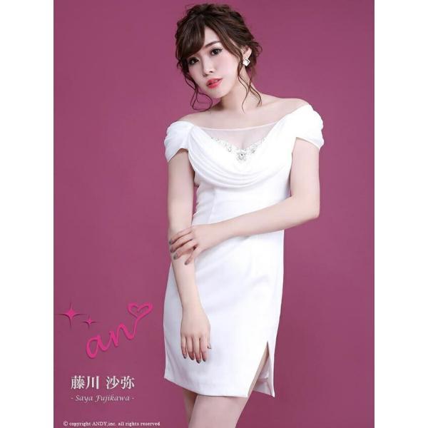 f4b3f2a3b6c21 ... ドレス キャバドレス ワンピース ナイトドレス an S M スリット 胸元 シフォン タイト ミニドレス 白 黒 ...