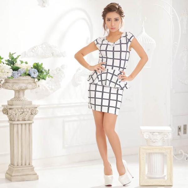 ドレス キャバ ワンピース S/Mサイズ [2ピース]バイカラーチェック柄ぺプラムタイトミニドレス キャバドレス 3/24再入荷 dazzy 02