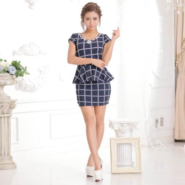 ドレス キャバ ワンピース S/Mサイズ [2ピース]バイカラーチェック柄ぺプラムタイトミニドレス キャバドレス 3/24再入荷 dazzy 03