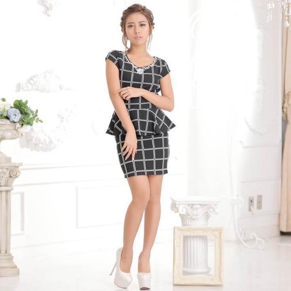 ドレス キャバ ワンピース S/Mサイズ [2ピース]バイカラーチェック柄ぺプラムタイトミニドレス キャバドレス 3/24再入荷 dazzy 04
