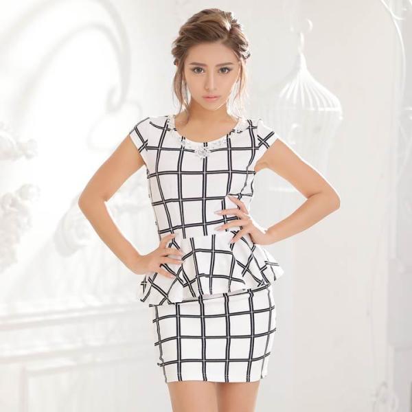 ドレス キャバ ワンピース S/Mサイズ [2ピース]バイカラーチェック柄ぺプラムタイトミニドレス キャバドレス 3/24再入荷 dazzy 05
