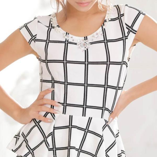 ドレス キャバ ワンピース S/Mサイズ [2ピース]バイカラーチェック柄ぺプラムタイトミニドレス キャバドレス 3/24再入荷 dazzy 07