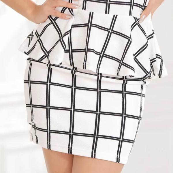 ドレス キャバ ワンピース S/Mサイズ [2ピース]バイカラーチェック柄ぺプラムタイトミニドレス キャバドレス 3/24再入荷 dazzy 08