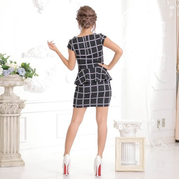 ドレス キャバ ワンピース S/Mサイズ [2ピース]バイカラーチェック柄ぺプラムタイトミニドレス キャバドレス 3/24再入荷 dazzy 10
