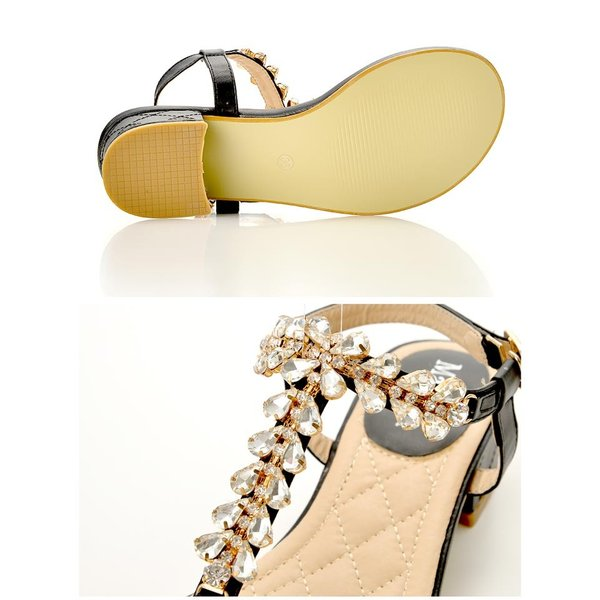 サンダル 靴 レディース 3cmヒール 花形デザインビジューストラップサンダル 5サイズ XS S M L LL goods dazzystore