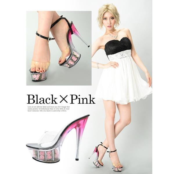 薔薇 サンダル ピンヒール 大きいサイズ 2段 ローズ インソール グラデ ローズ/キャバ ドレス/S M L LL/15cm|dazzy|06