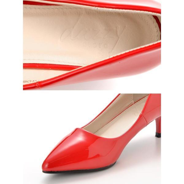 パンプス 靴 レディース キャバ 6cmヒール ミニヒールエナメルポインテッドトゥパンプスス ハイヒール 黒 赤 靴 パンプス ヒール 厚底 ドレ