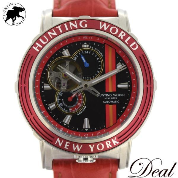 未使用展示品HUNTINGWORLDハンティングワールドアディッショナルタイムHW993RD自動巻メンズ腕時計