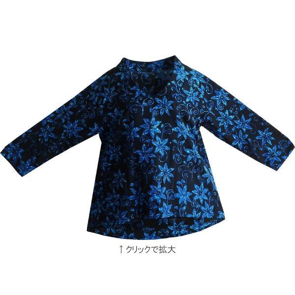 ブラウス チュニック 7分袖 七分袖 40代 50代 60代 ワンピース レディース ファッション 女性ミセス 秋 冬 春 綿ブラック黒系柄A02 母の日 dear-u 04