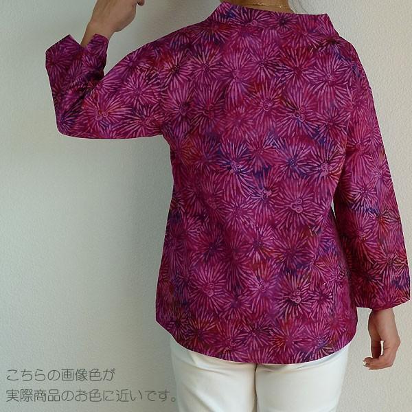 ブラウス チュニック 7分袖 七分袖 40代 50代 60代 ワンピース レディース ファッション 女性ミセス 秋 冬 春 綿レッドパープル赤紫系柄A02 母の日|dear-u|02