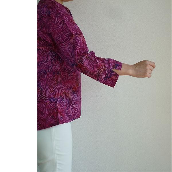 ブラウス チュニック 7分袖 七分袖 40代 50代 60代 ワンピース レディース ファッション 女性ミセス 秋 冬 春 綿レッドパープル赤紫系柄A02 母の日|dear-u|03