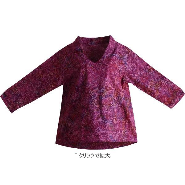 ブラウス チュニック 7分袖 七分袖 40代 50代 60代 ワンピース レディース ファッション 女性ミセス 秋 冬 春 綿レッドパープル赤紫系柄A02 母の日|dear-u|04