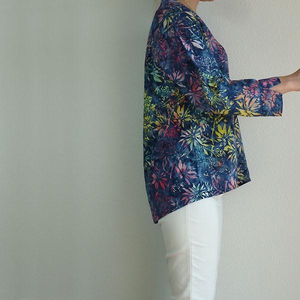 ブラウス チュニック 7分袖 七分袖 40代 50代 60代 ワンピース レディース ファッション 女性ミセス 秋 冬 春 レーヨン ブルー青系柄A02 母の日|dear-u|03