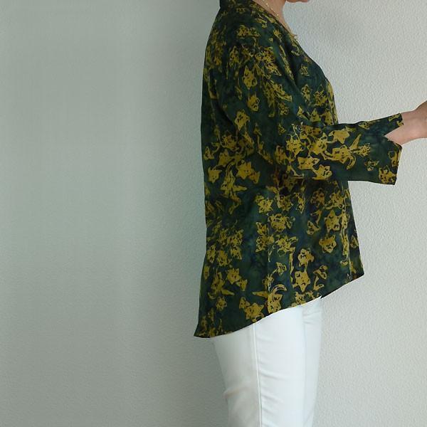 ブラウス チュニック 7分袖 七分袖 40代 50代 60代 ワンピース レディース ファッション 女性ミセス 秋 冬 春 レーヨン グリーン緑系柄A02 母の日|dear-u|03