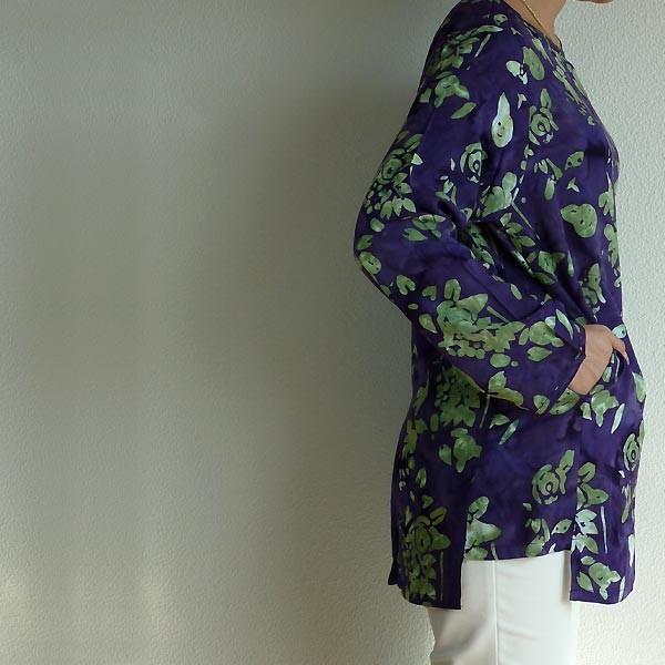 チュニック 長袖 ゆったり 40代 50代 60代 ワンピース レディース ファッション 女性ミセス 秋 冬 春 レーヨン パープル紫系柄A05 母の日|dear-u|04