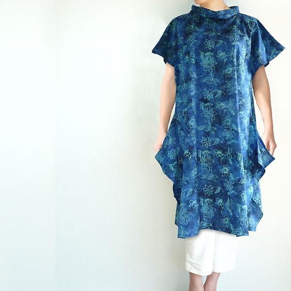 チュニック 半袖 ゆったり 40代 50代 60代 ワンピース レディース ファッション 女性ミセス 春 夏 秋 レーヨン ブルー青系柄A06 母の日 dear-u