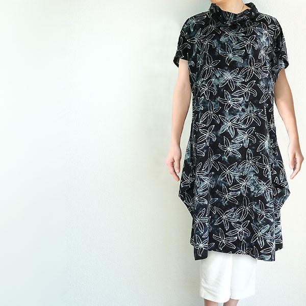 チュニック 半袖 ゆったり 40代 50代 60代 ワンピース レディース ファッション 女性ミセス 春 夏 秋 レーヨン ネイビーブラック黒系柄A06 母の日|dear-u
