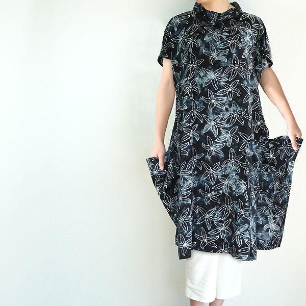 チュニック 半袖 ゆったり 40代 50代 60代 ワンピース レディース ファッション 女性ミセス 春 夏 秋 レーヨン ネイビーブラック黒系柄A06 母の日|dear-u|02