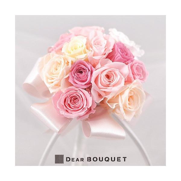ウェディングブーケ ラウンド型 ピンク プリザーブドフラワー ブーケ 結婚式 ウェディング ブーケプルズ 花束 ウェディング 結婚祝い ブライダル|dearbouquet