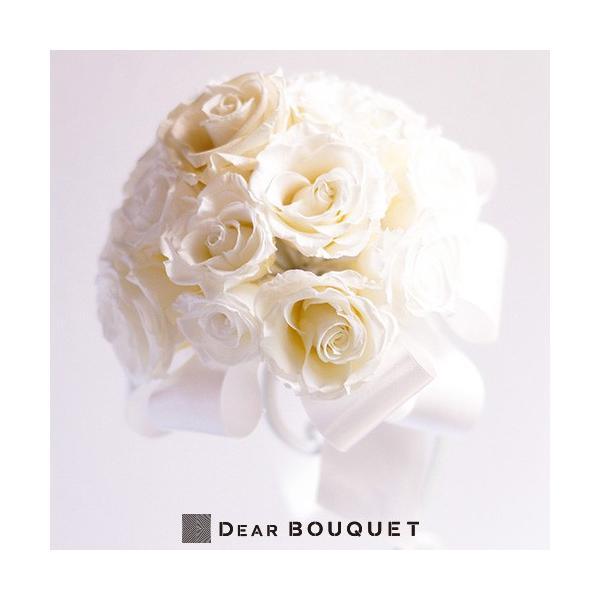 ウェディングブーケ ラウンド型 ホワイト プリザーブドフラワー ブーケ 結婚式 ウェディング ブーケプルズ 花束 ウェディング 結婚祝い ブライダル|dearbouquet