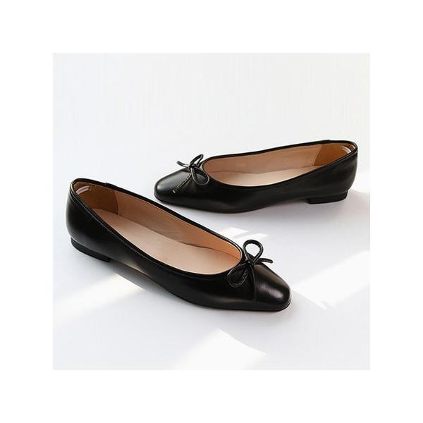 フラットシューズ パンプス リボン レディース バレエシューズ ぺたんこ ペタンコ ポインテッドトゥ 靴 婦人靴 黒 ブラック グレー