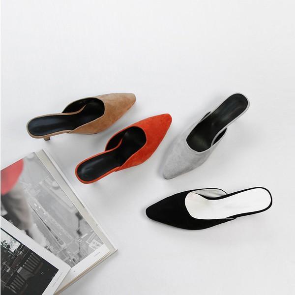 パンプス スエード ミュール レディースシューズ サンダル ローヒール 黒 ブラック グレー ブラウン 靴 歩きやすい