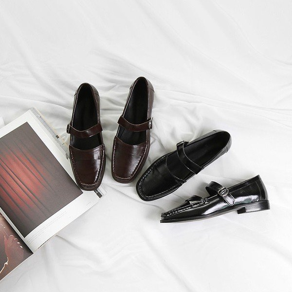 ローファー レディースシューズ おじ靴 革靴 フロントストラップ ブラック オックスフォード ぺたんこ 黒 ブラウン