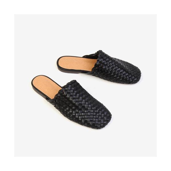 サンダル 編み込み レディースシューズ フラットシューズ スリッパ  黒 ベージュ ブラウン ブラック ホワイト 靴 歩きやすい シンプル