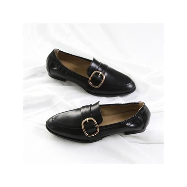 ローファー レディースシューズ おじ靴 ベルト バックル  オックスフォード ペタンコ ぺたんこ 革靴 黒 ブラック