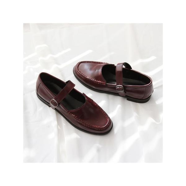 ローファー レディースシューズ おじ靴 フロントストラップ 革靴 ブラック 黒 ワインレッド オックスフォード ぺたんこ 婦人靴 シンプル