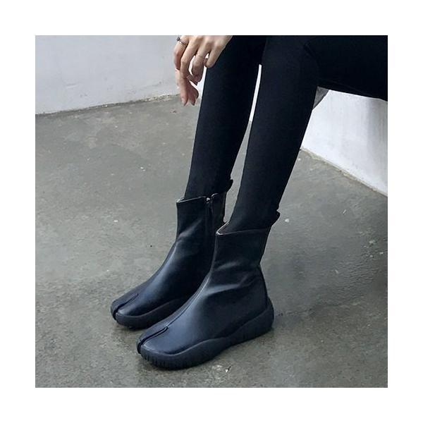足袋 ショートブーツ レディース サイドジップ フラット 黒 ブラック 靴 婦人靴