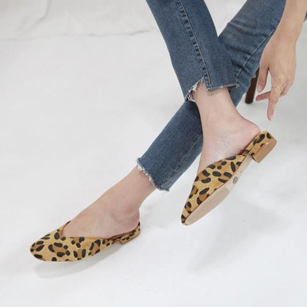 パンプス ヒョウ柄 レオパード スエード レディース フラットシューズ ぺたんこ 婦人靴 歩きやすい サンダル