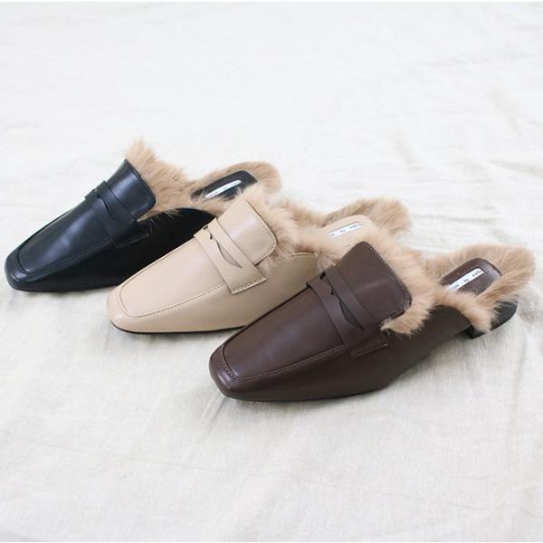 バブーシュローファー  ファー レディース フラット ぺたんこ 黒 ブラック ブラウン ベージュ 婦人靴 歩きやすい サンダル