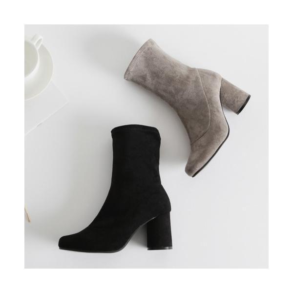 ショートブーツ レディース ヒール スエード 黒 ブラック ローヒール ブーティ 太ヒール 靴 婦人靴