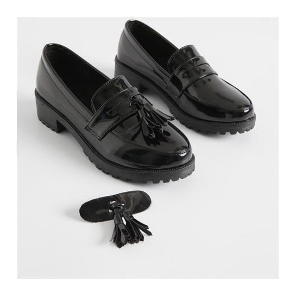 ローファー レディースシューズ おじ靴 エナメル 革靴 ブラック 黒 タッセル オックスフォード ぺたんこ シンプル コインローファー 光沢