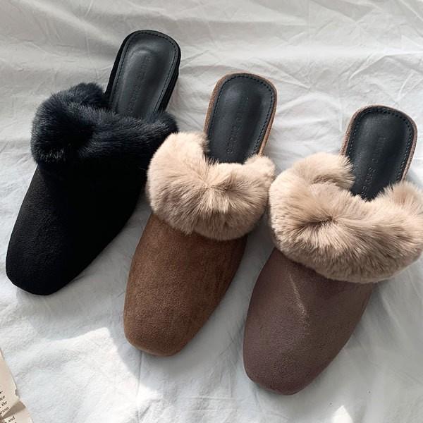 サンダル ミュール バブーシュ スエード ラビットファー ファー レディース ローヒール スリッパ  靴 ブラック ブラウン グレー 黒 茶色 灰色