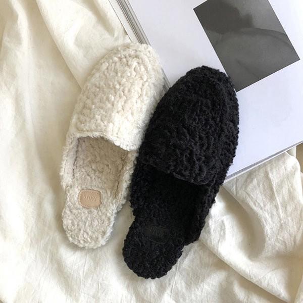 サンダル フラット フリース モコモコ レディース ローヒール スリッパ ミュール 靴 ブラック ベージュ 黒
