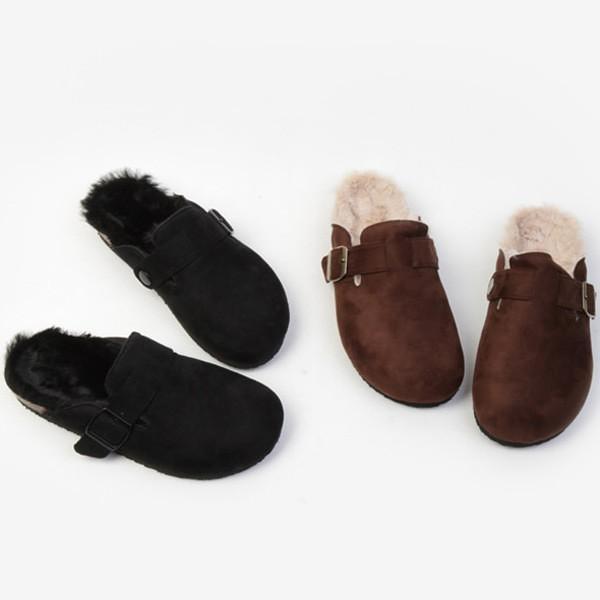 サンダル フラット スエード ファー モコモコ ベルト レディース ローヒール スリッパ 靴 ブラック ブラウン 黒 茶色