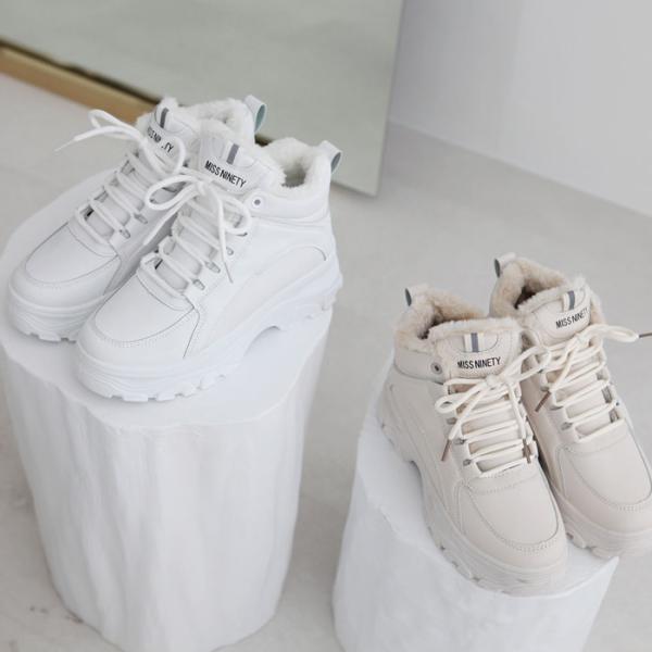 ダッドスニーカーレディースハイカット厚底ダッドシューズ白ホワイトベージュ婦人靴シューズスニーカースリッポンフラットシンプル