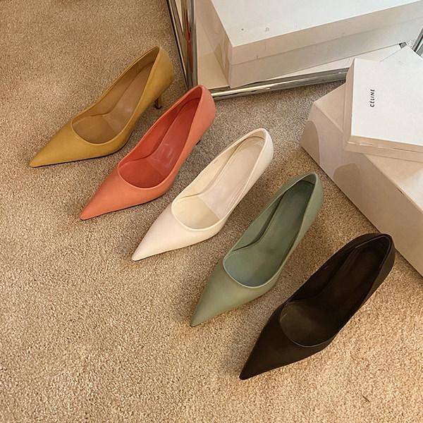 パンプス プレーン ポインテッドトゥ レディース ハイヒール ピンヒール 黒 ブラック ベージュ アイボリー ピンク ミント 靴 婦人靴 パーティー 結婚式 韓国