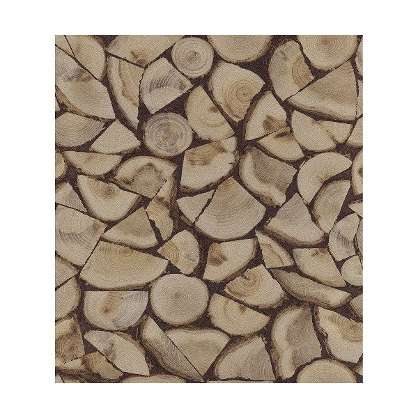 rasch 2020 輸入壁紙 130359 ブラウン 茶色 木目 丸太 薪 フェイク クロス 10m巻 DIY はがせる ドイツ製  国内在庫品|decoall